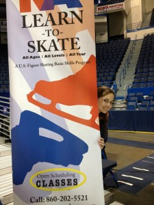 Newington Arena Learn to Skate Program Standing Sign