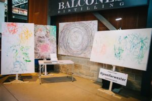 Images of stretched canvases after skate painting
